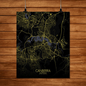 Mapospheres Canberra Night full page design poster city map
