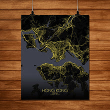 Load image into Gallery viewer, Mapospheres Hong Kong Night full page design poster city map