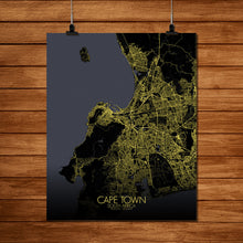 Load image into Gallery viewer, Mapospheres Cape Town Night full page design poster city map