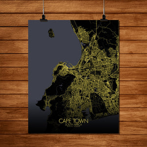 Mapospheres Cape Town Night full page design poster city map