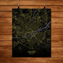 Load image into Gallery viewer, Mapospheres Nantes Night full page design poster city map