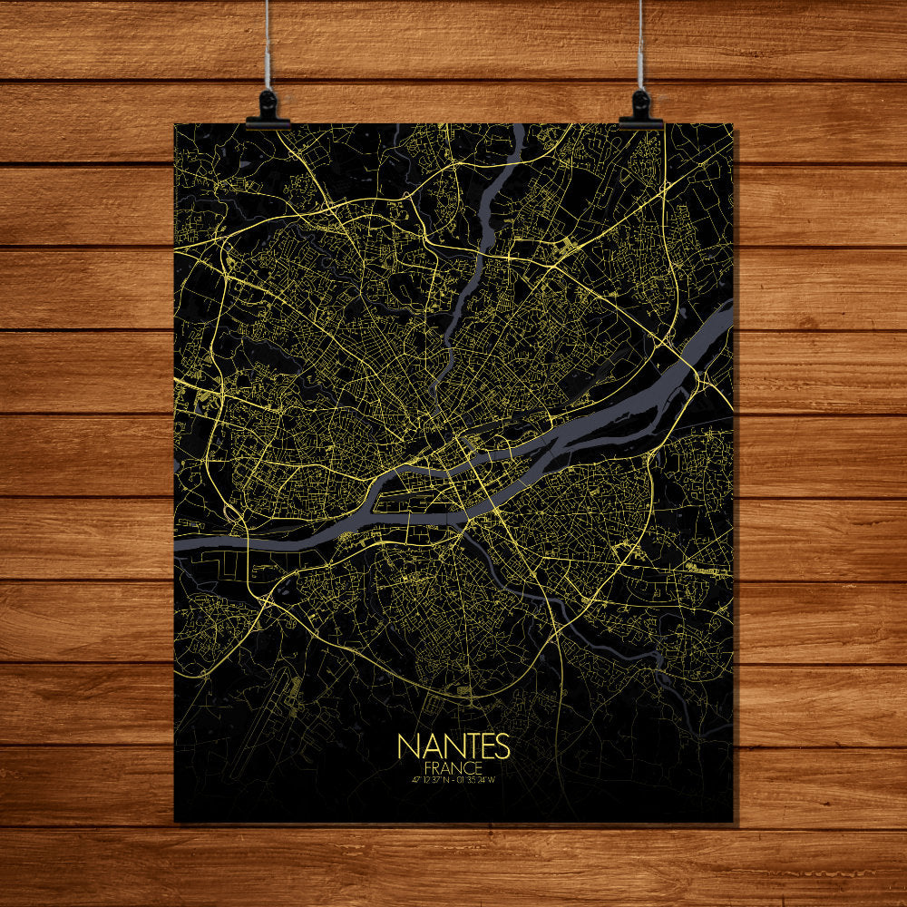 Mapospheres Nantes Night full page design poster city map