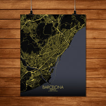 Load image into Gallery viewer, Mapospheres Barcelona Night full page design poster city map
