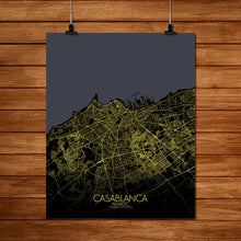 Load image into Gallery viewer, Mapospheres Casablanca Night full page design poster city map