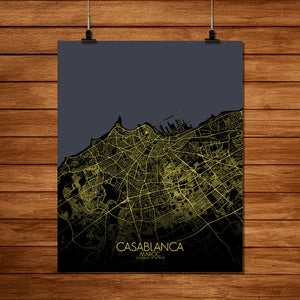 Mapospheres Casablanca Night full page design poster city map