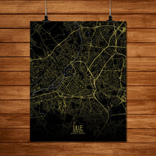 Load image into Gallery viewer, Mapospheres Lille Night full page design poster city map