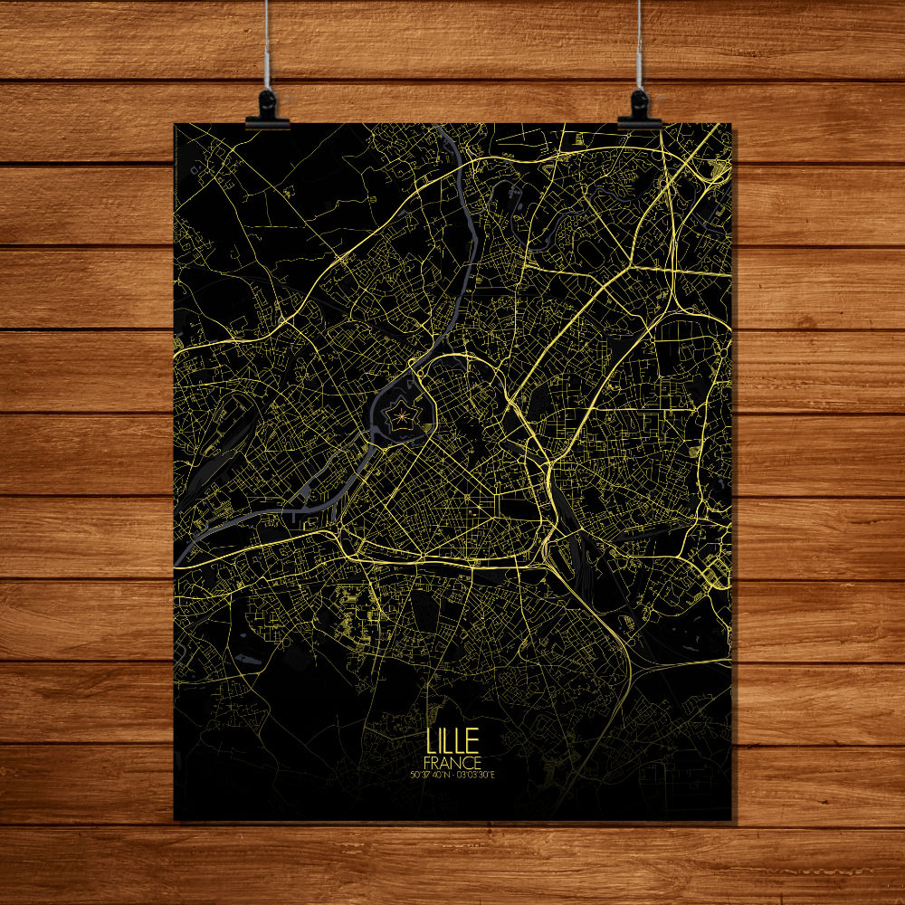 Mapospheres Lille Night full page design poster city map