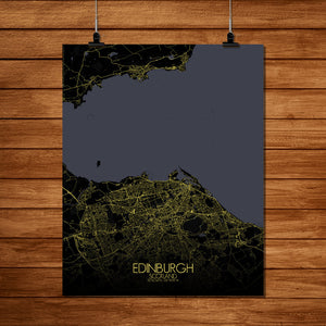 Mapospheres Edinburgh Night full page design poster city map