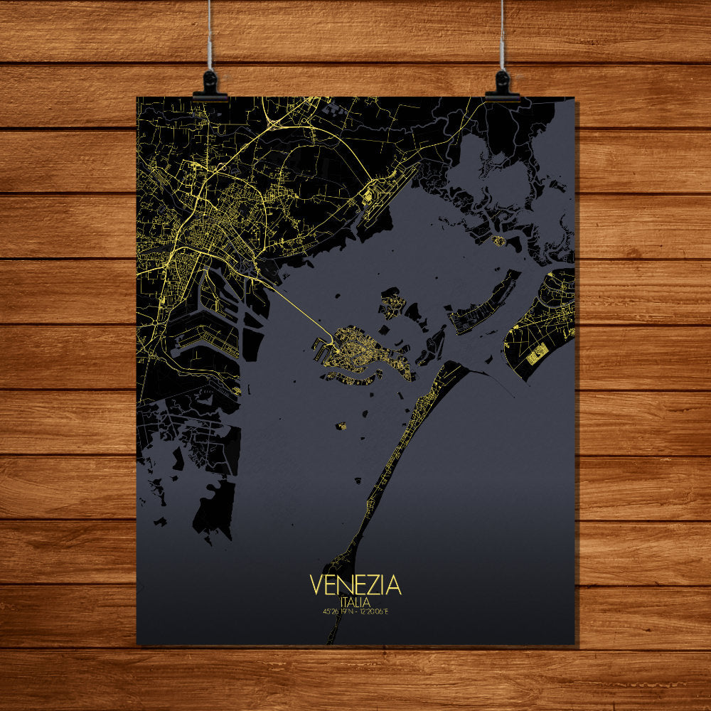 Mapospheres Venice Night full page design poster city map