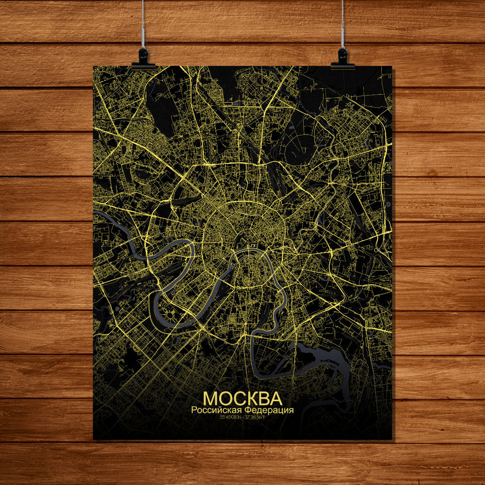 Mapospheres Moscow Night full page design poster city map