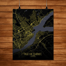 Load image into Gallery viewer, Mapospheres Quebec Night full page design poster city map