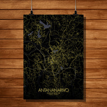 Load image into Gallery viewer, Mapospheres Antananarivo Night full page design poster city map