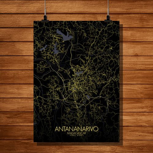 Mapospheres Antananarivo Night full page design poster city map