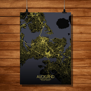 Auckland Night full page design poster city map