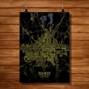 Bishkek Night full page design poster city map