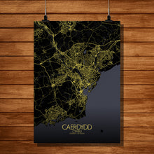 Load image into Gallery viewer, Mapospheres Cardiff Night full page design poster city map