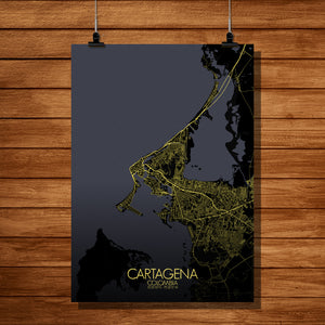 Cartagena Night full page design poster city map