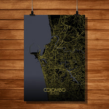 Load image into Gallery viewer, Mapospheres Colombo Night full page design poster city map