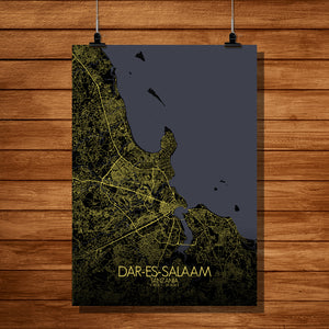 Dar Es Salaam Night full page design poster city map
