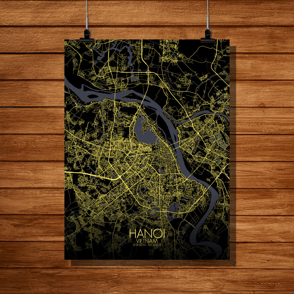 Hanoi Night full page design poster city map