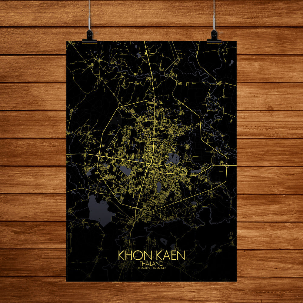Khonkaen Night full page design poster city map