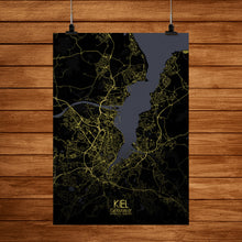 Load image into Gallery viewer, Kiel Night full page design poster city map
