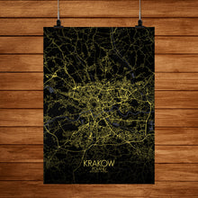 Load image into Gallery viewer, Krakow Night full page design poster city map