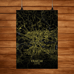 Krakow Night full page design poster city map
