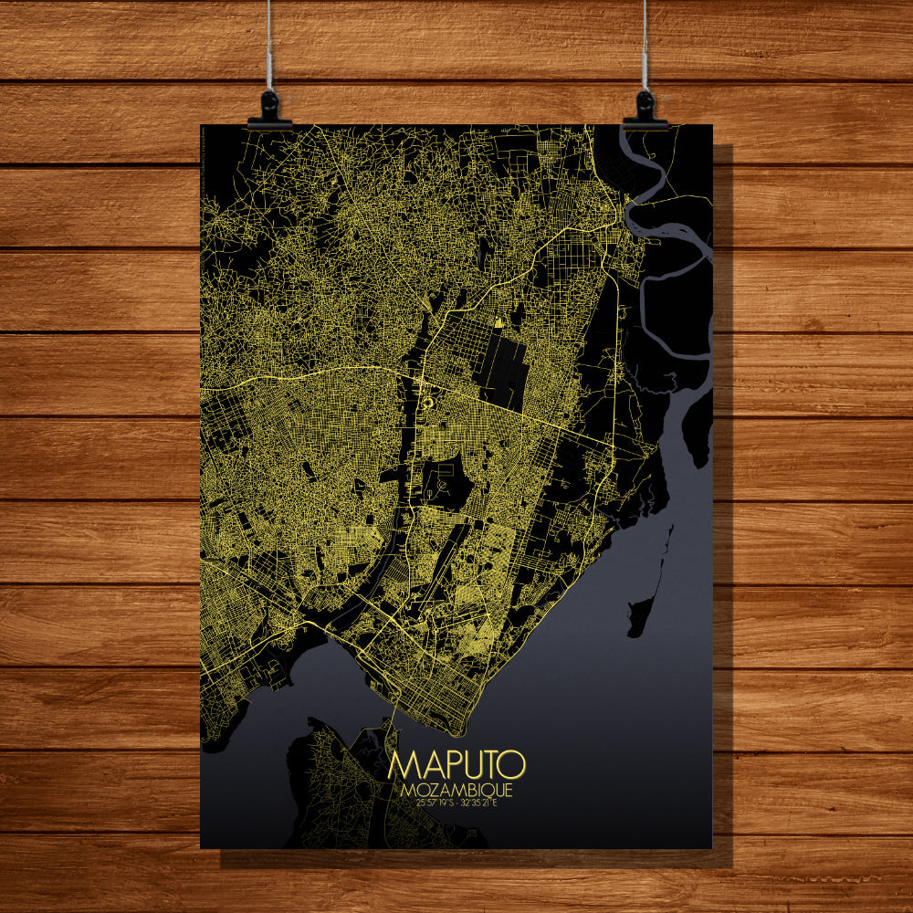 Maputo Night full page design poster city map