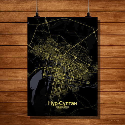 Nur Sultan Night full page design poster city map