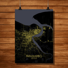Load image into Gallery viewer, Paramaribo Night full page design poster city map