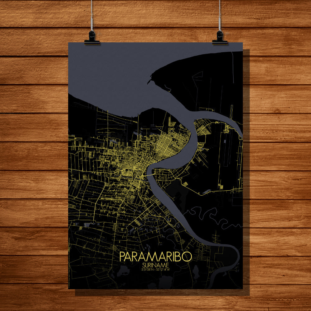 Paramaribo Night full page design poster city map