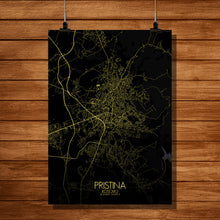 Load image into Gallery viewer, Pristina Night full page design poster city map