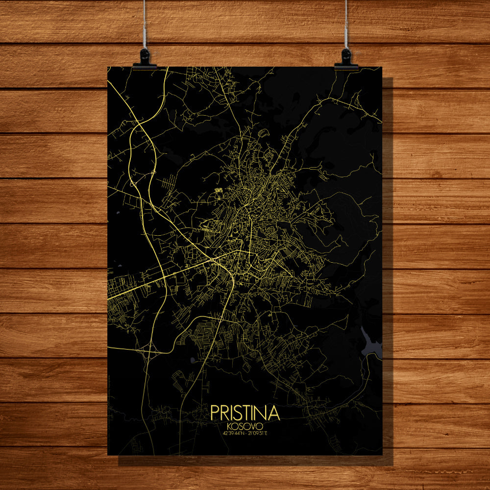 Pristina Night full page design poster city map