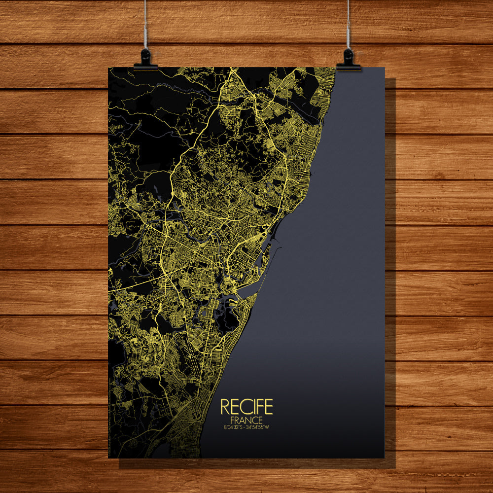 Recife Night full page design poster city map