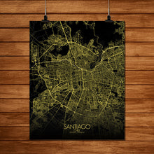 Load image into Gallery viewer, Mapospheres Santiago Night full page design poster city map