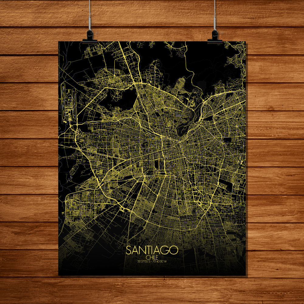 Mapospheres Santiago Night full page design poster city map