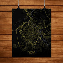 Load image into Gallery viewer, Mapospheres Nancy Night full page design poster city map