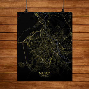 Mapospheres Nancy Night full page design poster city map