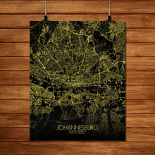 Load image into Gallery viewer, Mapospheres Johannesburg Night full page design poster city map