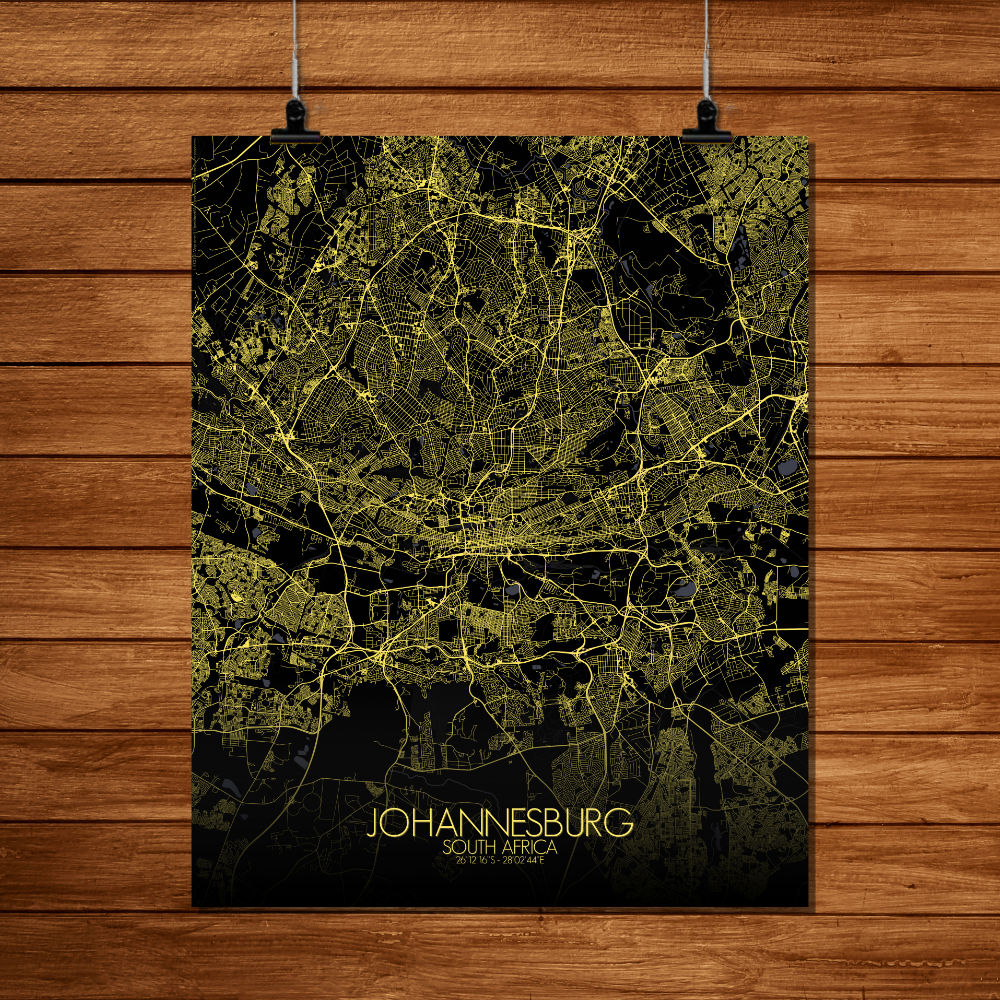 Mapospheres Johannesburg Night full page design poster city map