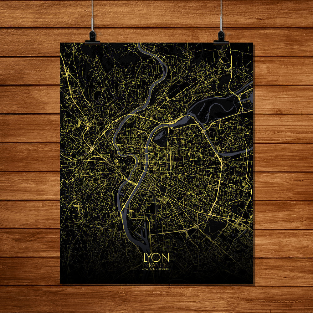 Mapospheres Lyon Night full page design poster city map