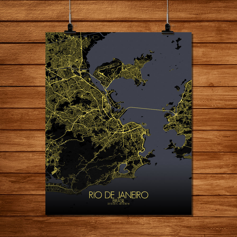 Mapospheres Rio de Janeiro Night full page design poster city map
