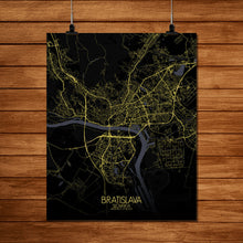 Load image into Gallery viewer, Mapospheres Bratislava Night full page design poster city map