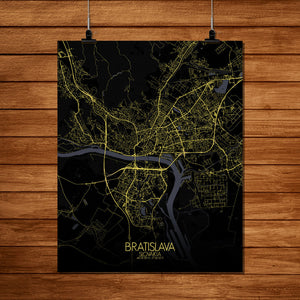 Mapospheres Bratislava Night full page design poster city map