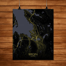 Load image into Gallery viewer, Mapospheres Bergen Night full page design poster city map