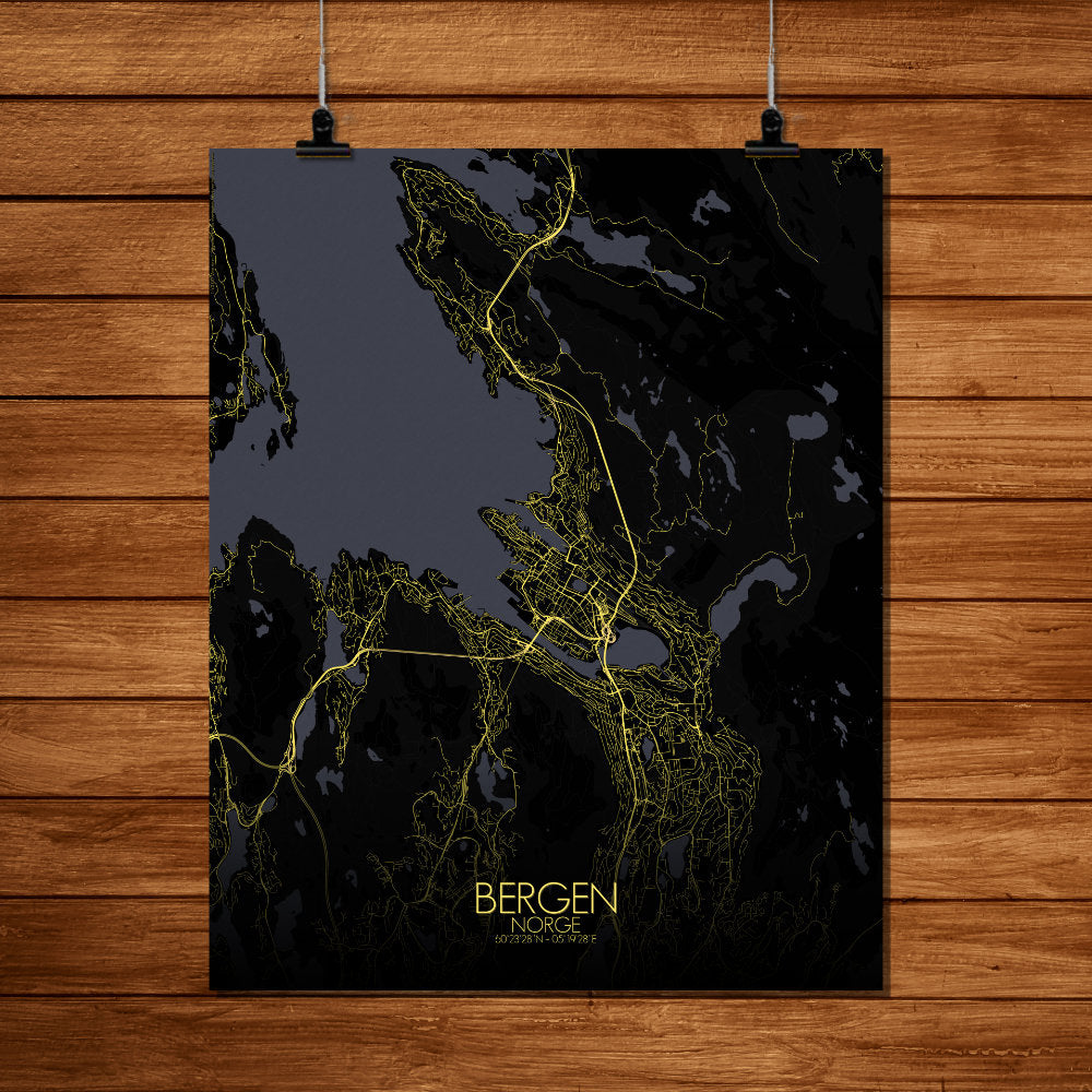 Mapospheres Bergen Night full page design poster city map