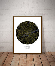 Load image into Gallery viewer, Mapospheres Nantes Night round shape design poster city map