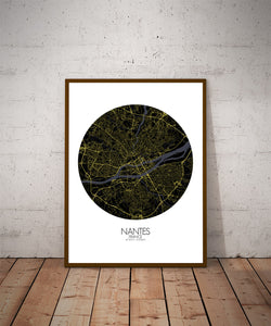 Mapospheres Nantes Night round shape design poster city map