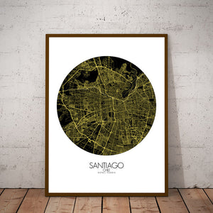 Mapospheres Santiago Night round shape design poster city map